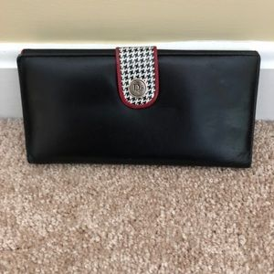 DIOR Leather Wallet, Black/Red/B&W Trim, VTG